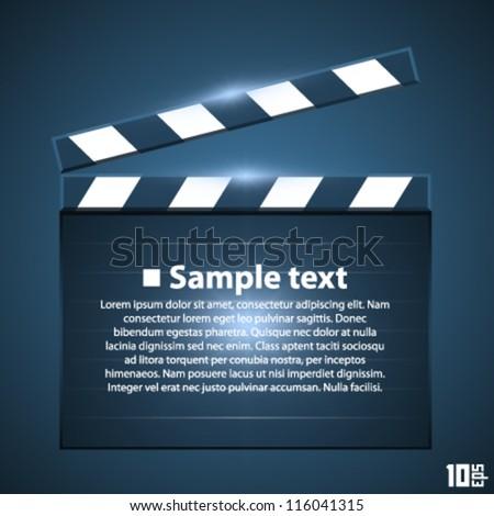 Movie board slapstick, Clapperboard on a white background, Film frame, Video start, vector illustration - stock vector