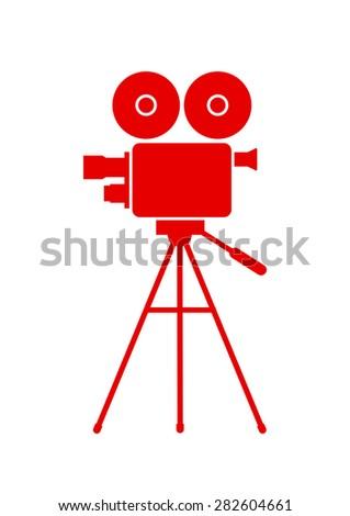 Movie camera icon on white background - stock vector