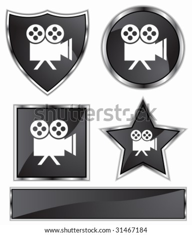 Movie Camera Icon Set : Black satin and chrome buttons in star, shield, circle and square shapes. - stock vector