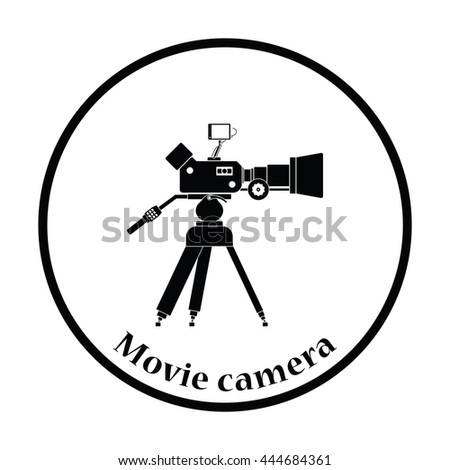 Movie camera icon. Thin circle design. Vector illustration. - stock vector