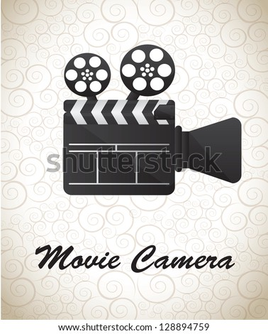 Movie Camera over white background vector illustration - stock vector