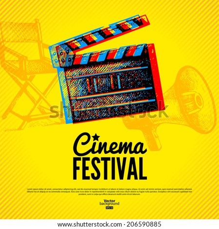 Movie cinema festival poster. Vector background with hand drawn sketch illustrations - stock vector