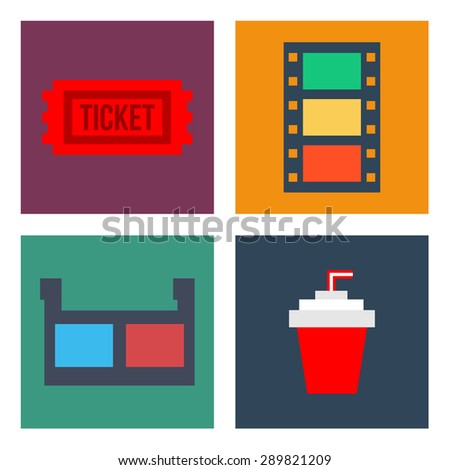 Movie Cinema Icons Flat style - stock vector