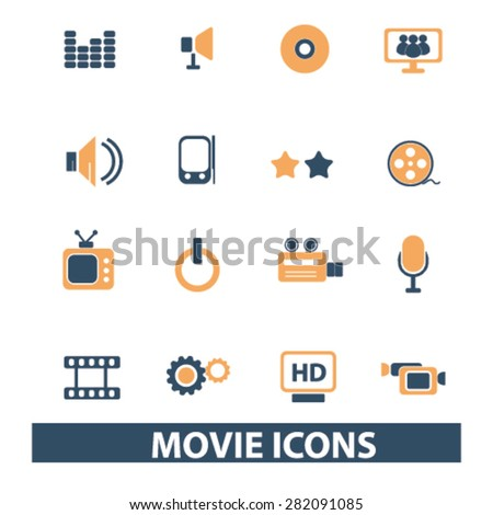 movie, cinema icons, signs, illustrations set, vector - stock vector