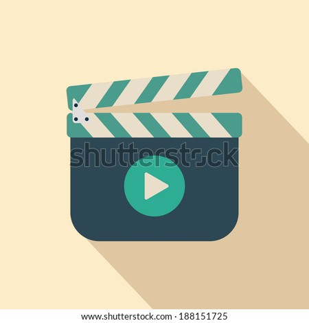 Movie clapper board icon with shadow, illustraion - stock vector