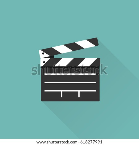 Movie Clapper Board Isolated On Background Stock Vector 618277991