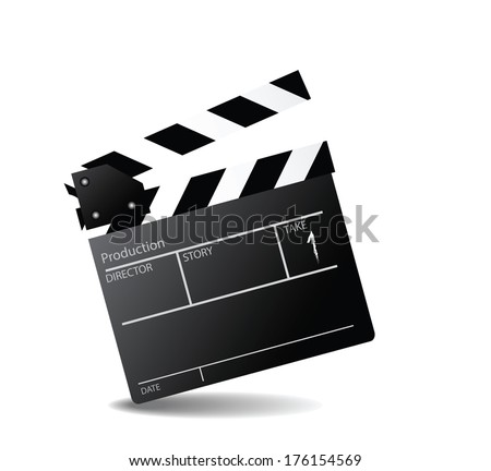 movie clapper board, movie maker vector - stock vector