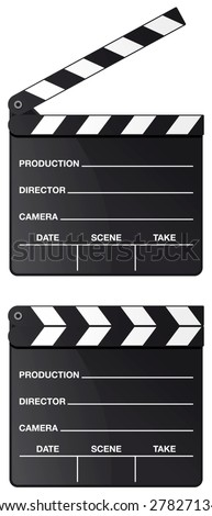 Movie clapper board set isolated on white background.