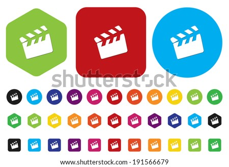 movie clapper icon / button - stock vector