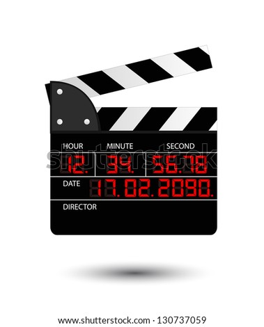 Movie clapper with red digital numbers on white - stock vector