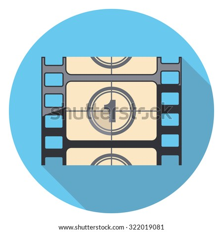 movie counter flat icon in circle - stock vector