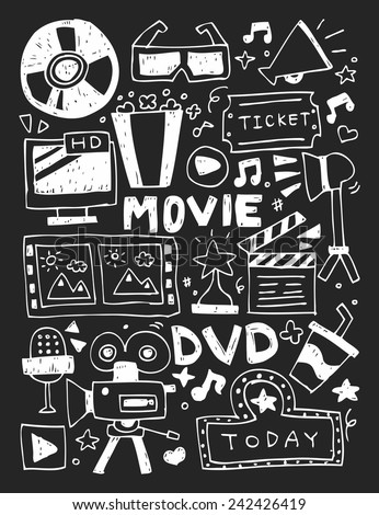 Movie elements doodles hand drawn line icon, eps10 - stock vector