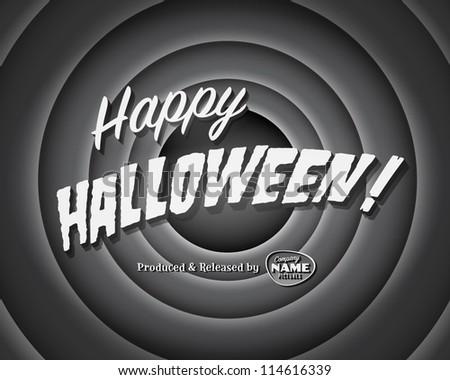 Movie ending screen - Happy Halloween - Vector EPS10 - stock vector