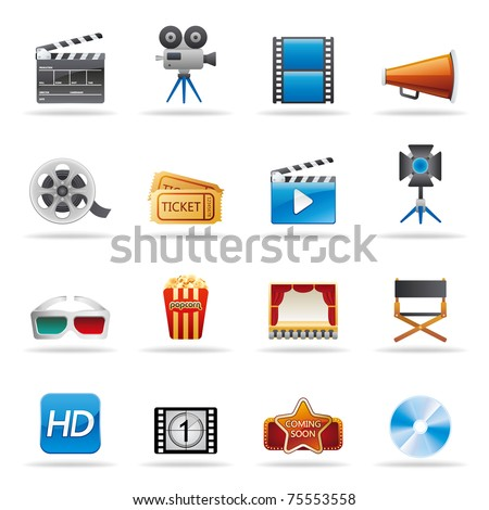 movie entertainment icons set - stock vector