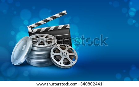 Movie film disks with directors clapper for cinematography. vector illustration. Isolated on white background. Transparent objects used for lights and shadows drawing. - stock vector