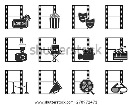 movie film icons set - stock vector