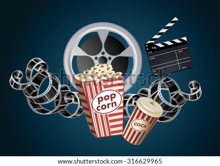 movie film reel and popcorn - stock vector