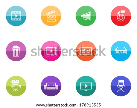 Movie icon series in color circles.  - stock vector
