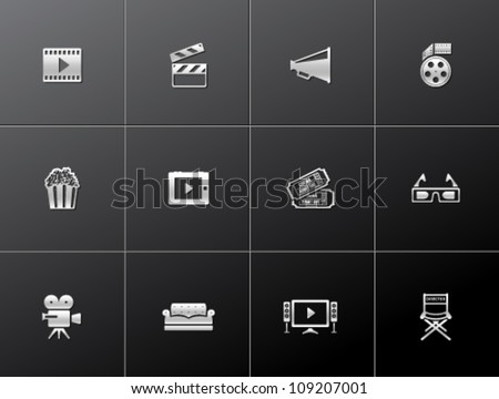 Movie icon series in metallic style - stock vector