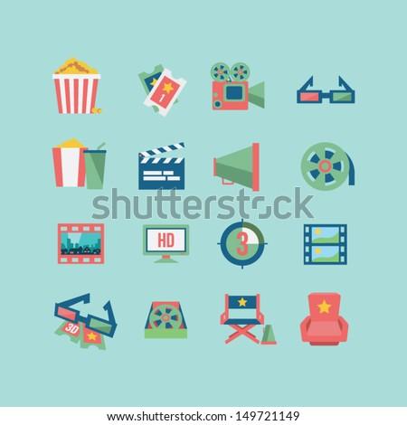 Movie icon set - stock vector