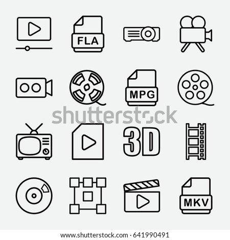 Movie Icon Set 16 Movie Outline Stock Vector 640742821 - Shutterstock