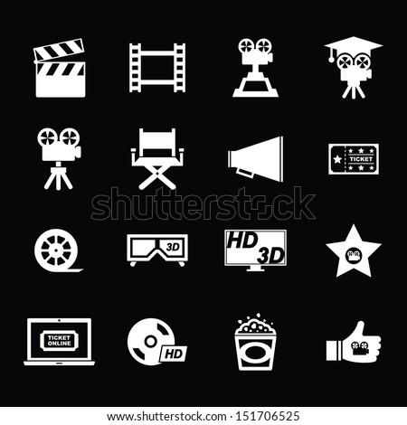 Movie Icon set - White - stock vector