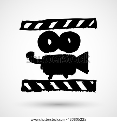 Movie Icon Vector Grunge Illustration