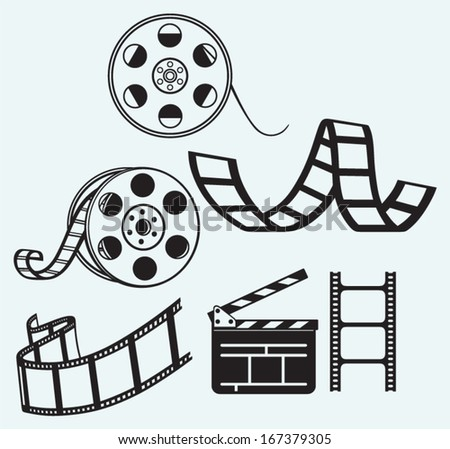 Movie icons isolated on blue background - stock vector