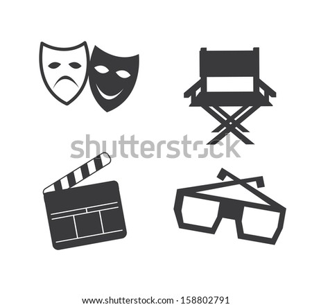 movie icons over white background vector illustration - stock vector