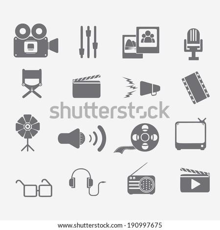 Movie icons set - stock vector