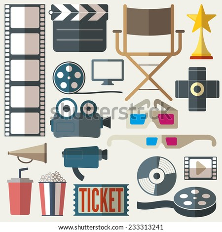 movie icons set - stock vector
