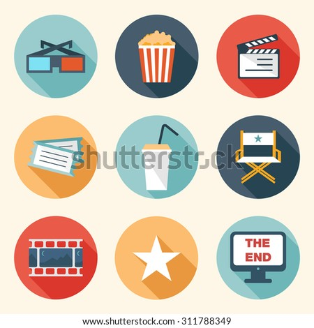 Movie Icons Set - flat design colorful icons vector eps10 - stock vector