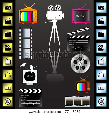 Movie icons set on the black background, vector illustration. - stock vector