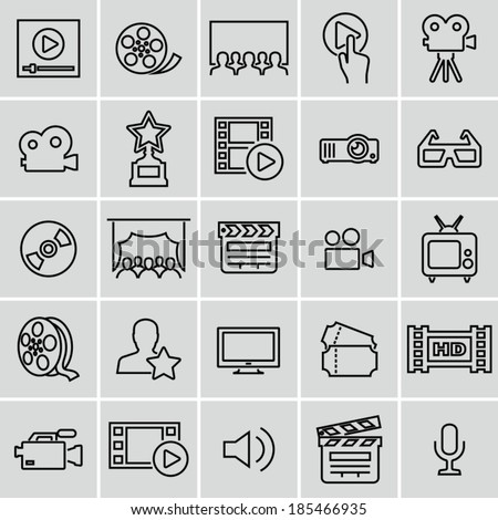 Movie icons set. Strokes not expanded. Outlines not converted to objects. - stock vector