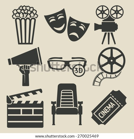 Movie icons set. Vector collection. eps 8 - stock vector