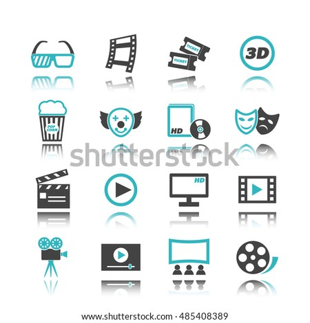 movie icons with reflection isolated on white background
