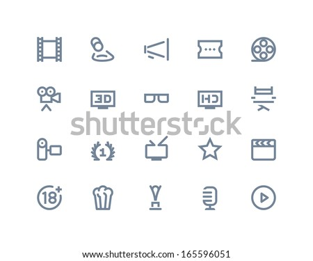 Movie industry icons. Line series - stock vector