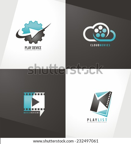 Movie logo design template collection. Film symbols and icons. Play button. Unique abstract creative concept. - stock vector