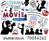 Movie-making, doodle set - stock vector