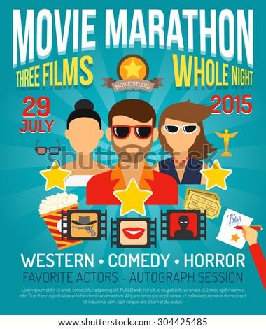 Movie marathon promo poster with actors portraits flat vector illustration - stock vector