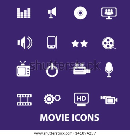 movie, media, music, cinema, gadjet, electronics icons, signs set, vector