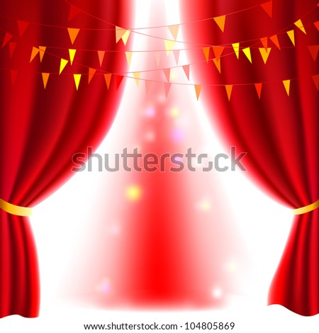 Movie or theater curtain with a bright spotlight - stock vector