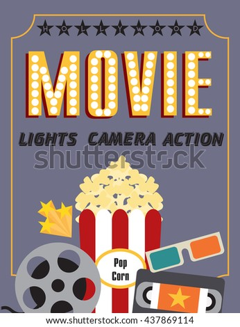 Movie party hollywood party invitation card stock vector 437869114 hollywood party invitation card stopboris Images