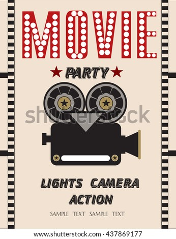 Movie party hollywood party invitation card stock vector 437869177 hollywood party invitation card stopboris Gallery