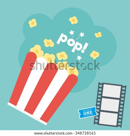 Movie Popcorn with Film Strip & Ticket - stock vector