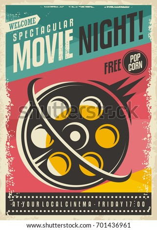 Movie Poster Design With Film Roll On Colorful Background Retro Banner Concept For Festival