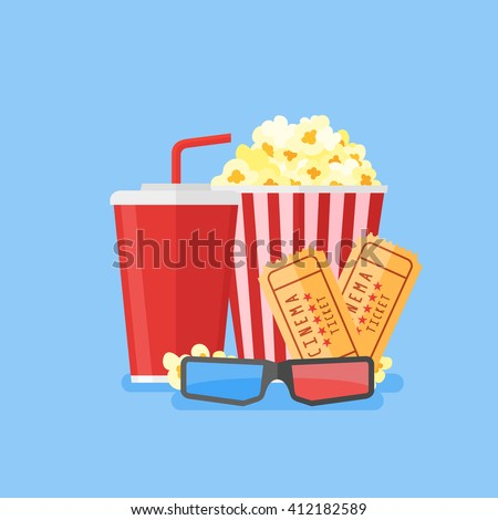 Movie poster template. Popcorn, soda takeaway, 3d cinema glasses and tickets. Cinema design in flat style, Vector illustration. - stock vector