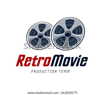 Movie production studio logo design template. Retro cinema reels. Vector art. - stock vector