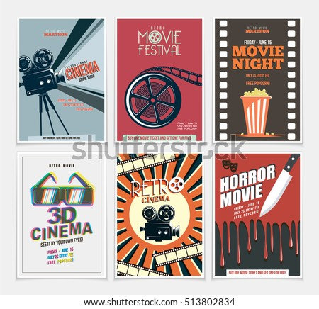 Movie Retro Posters Flyers Set Vintage Stock Vector ...