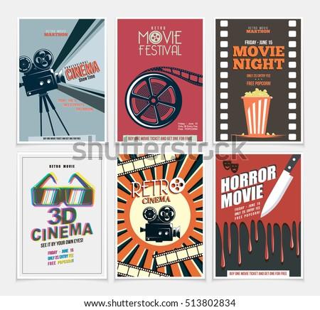 Movie Retro Posters Flyers Set Vintage Stock Vector ...